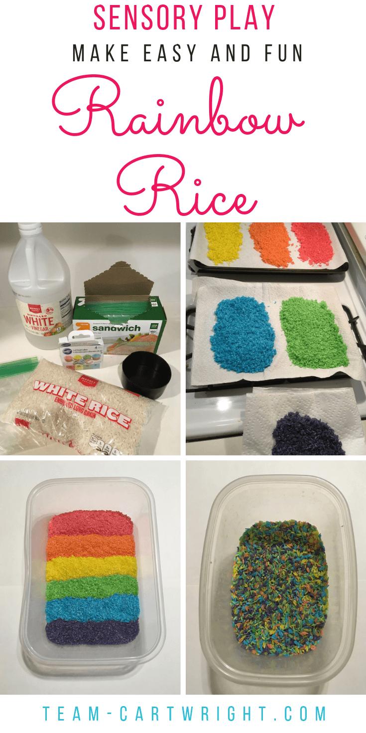 How to dye rainbow rice at home! Make an easy and fun sensory bin for your kids. #SensoryPlay #SensoryBin #RainbowActivity #RainbowLearning #RiceBin #ColoredRice #LearningActivity #Preschool Team-Cartwright.com