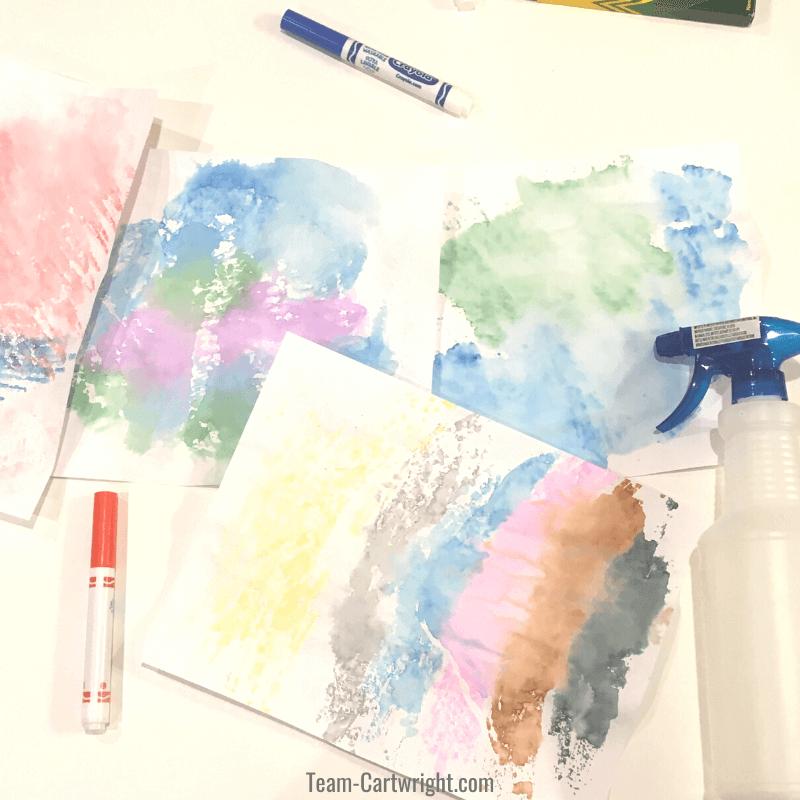paint-less watercolor process art for kids